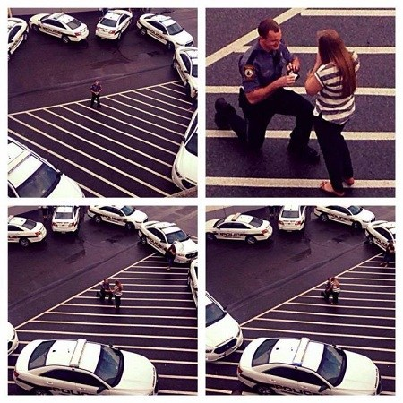 """[新聞] 浪漫求婚!美國警察用警車圍出""""愛心""""(圖)"""